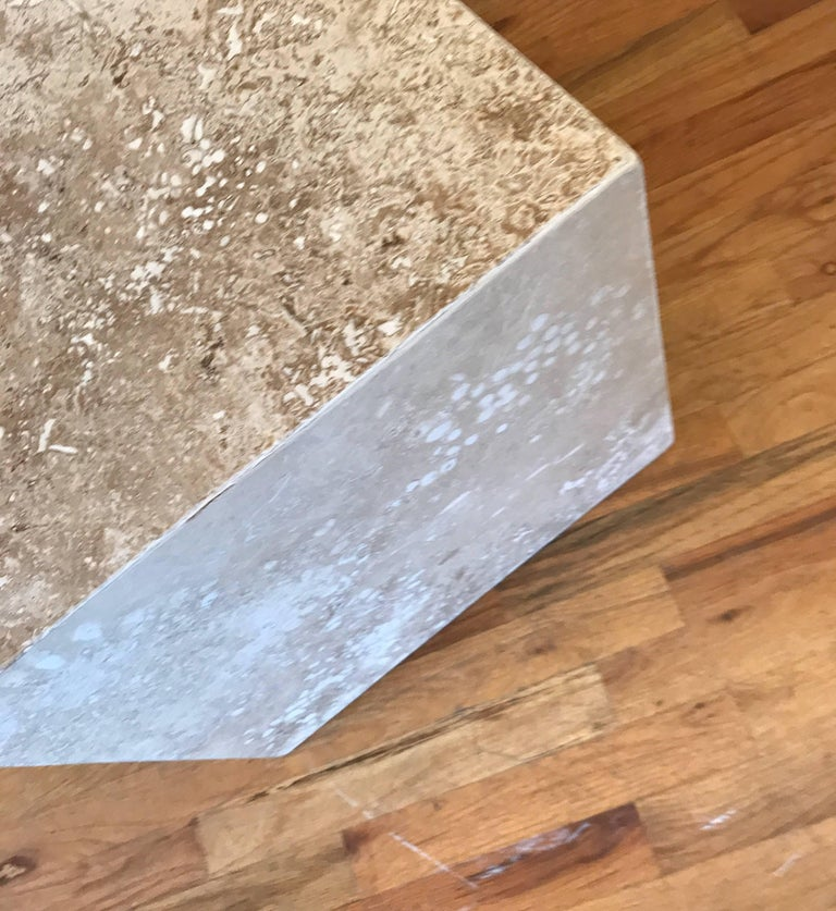 Travertine Side End Table Cube For Sale 5