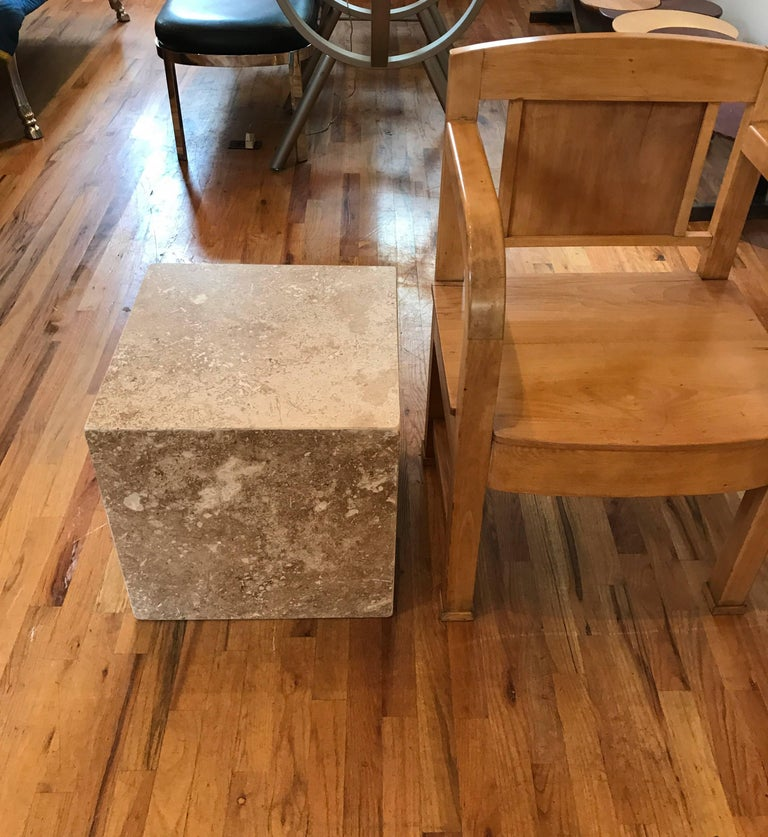 Travertine Side End Table Cube For Sale 6