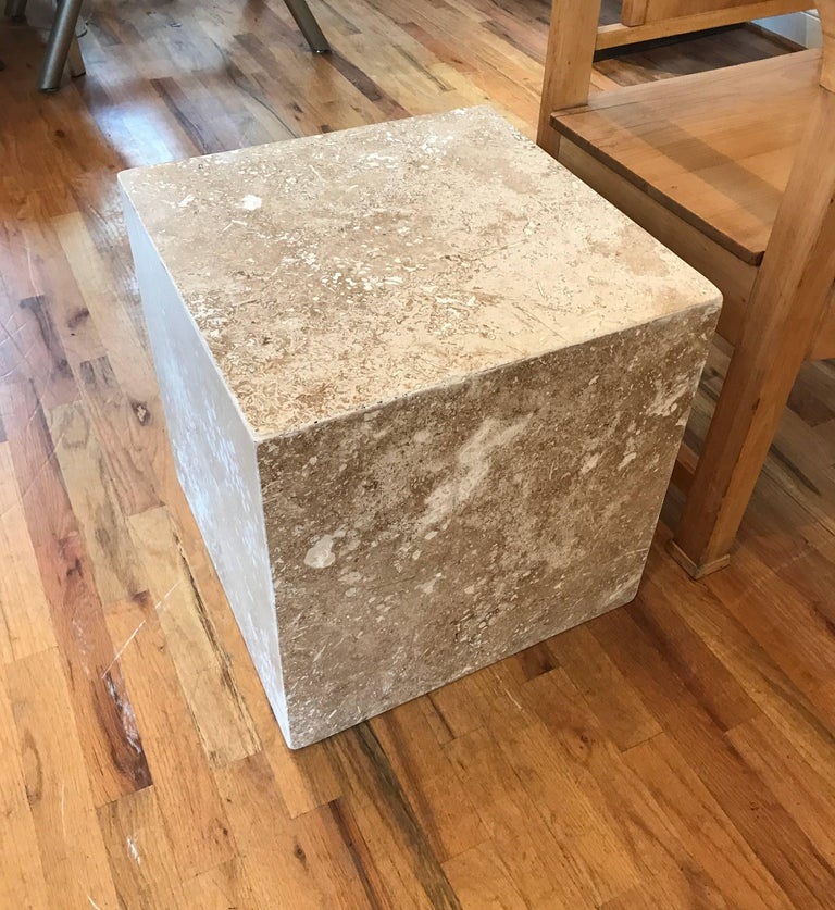Travertine Side End Table Cube For Sale 7
