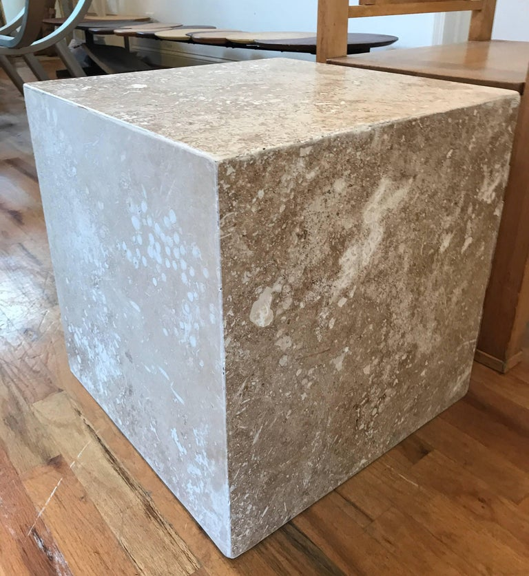 Travertine Side End Table Cube For Sale 8