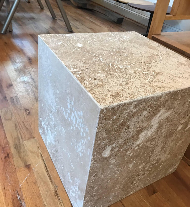 Travertine Side End Table Cube For Sale 9