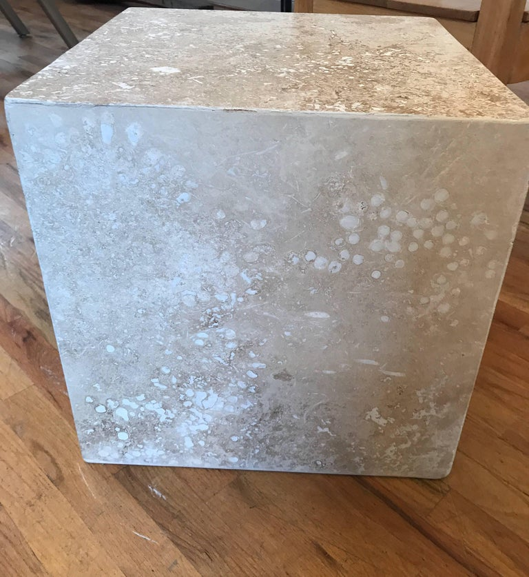 Travertine Side End Table Cube For Sale 10