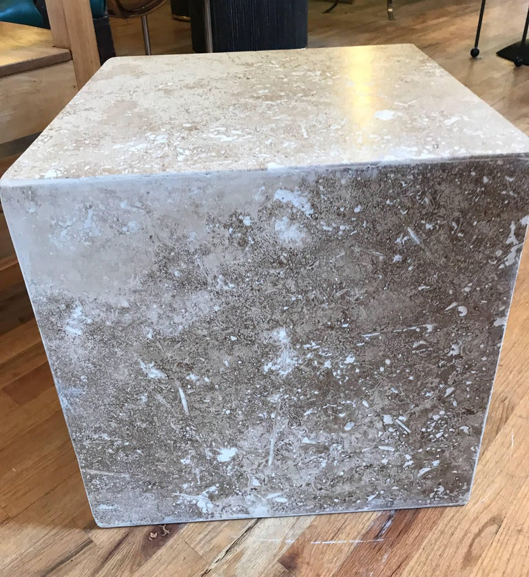 Travertine Side End Table Cube For Sale 11