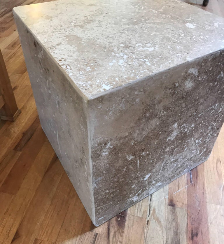 Travertine Side End Table Cube For Sale 12