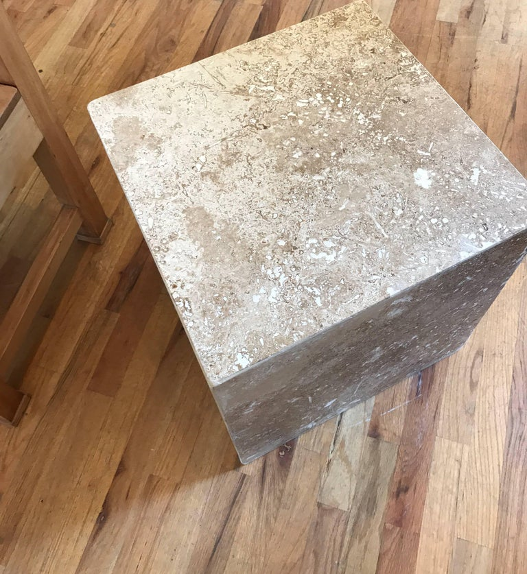Travertine Side End Table Cube For Sale 13