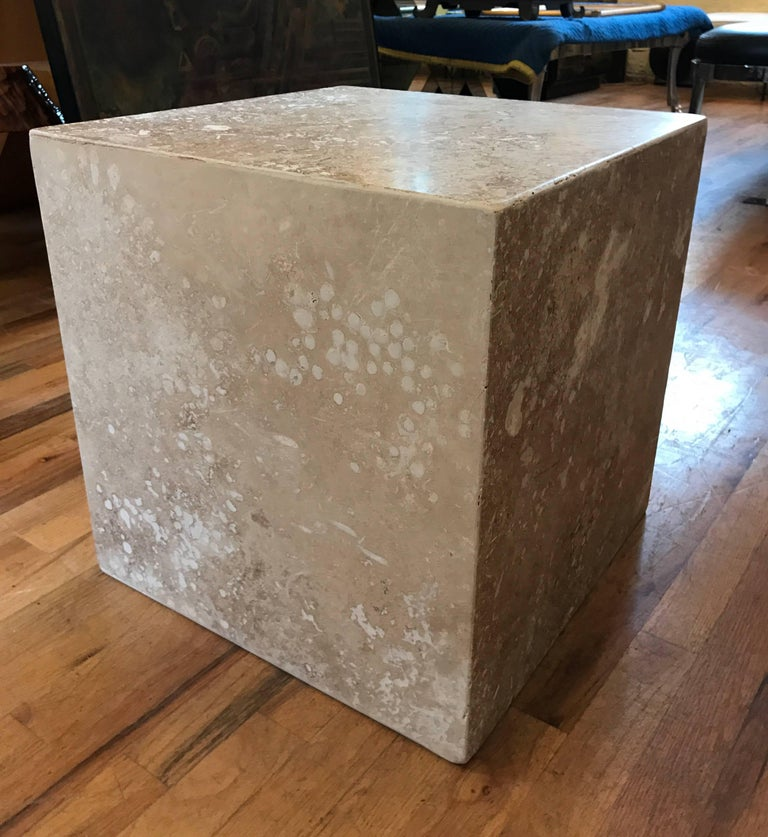 Modern Travertine Side End Table Cube For Sale