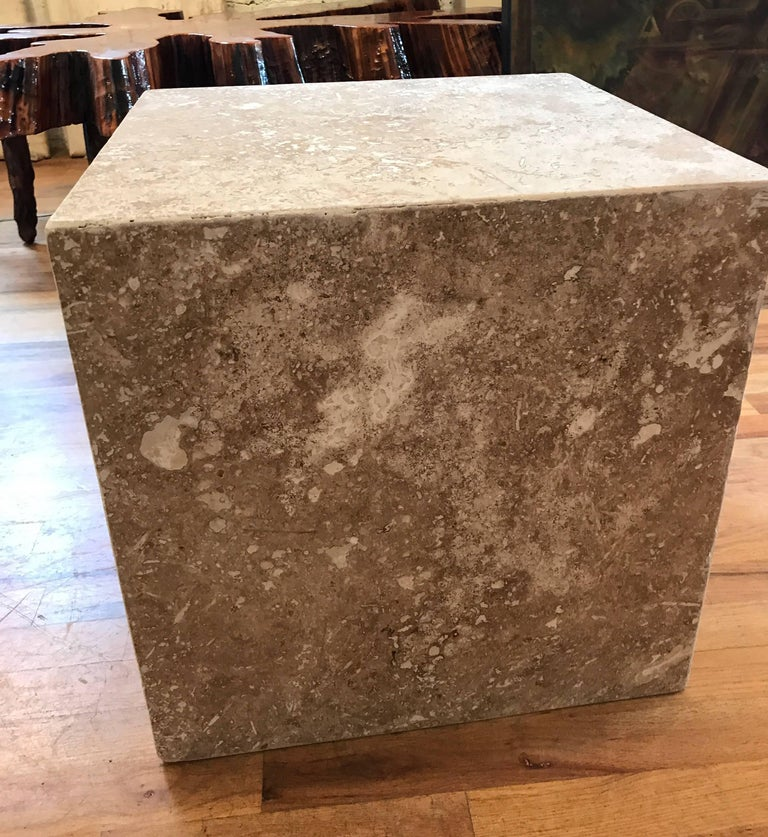 Italian Travertine Side End Table Cube For Sale