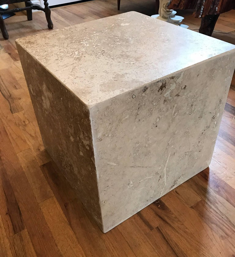 Travertine Side End Table Cube In Good Condition For Sale In Chicago, IL