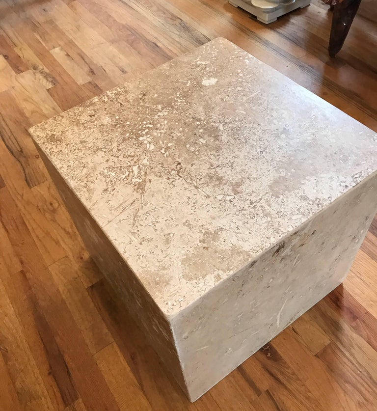 Contemporary Travertine Side End Table Cube For Sale