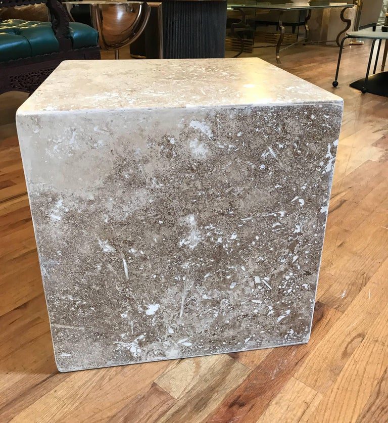 Travertine Side End Table Cube For Sale 1