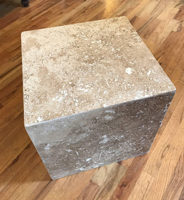 Travertine Side End Table Cube For Sale 2
