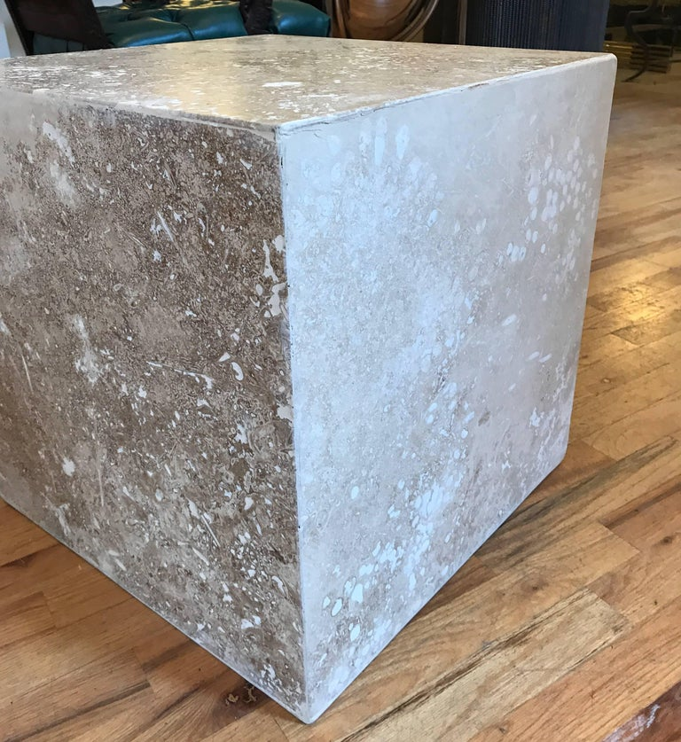 Travertine Side End Table Cube For Sale 3