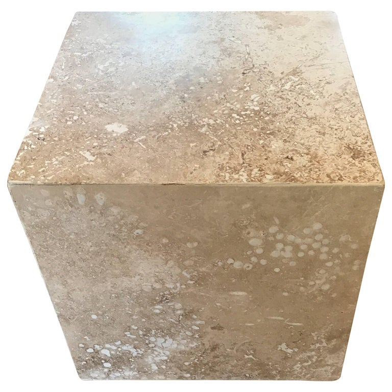 Travertine Side End Table Cube For Sale