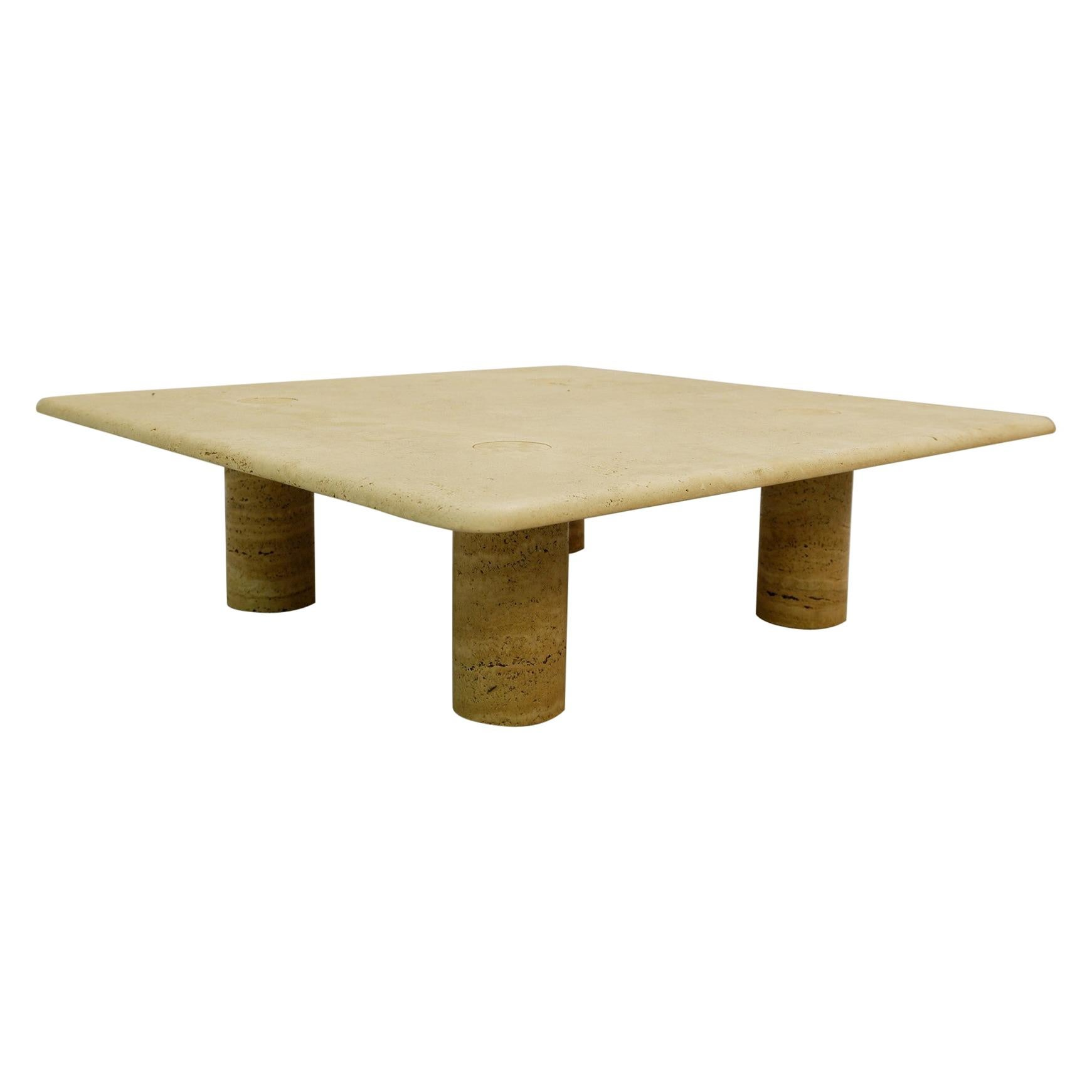 Travertine Square Coffee Table by Angelo Mangiarotti