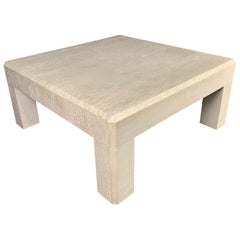Travertine Square Coffee Table in the Style of Karl Springer Midcentury