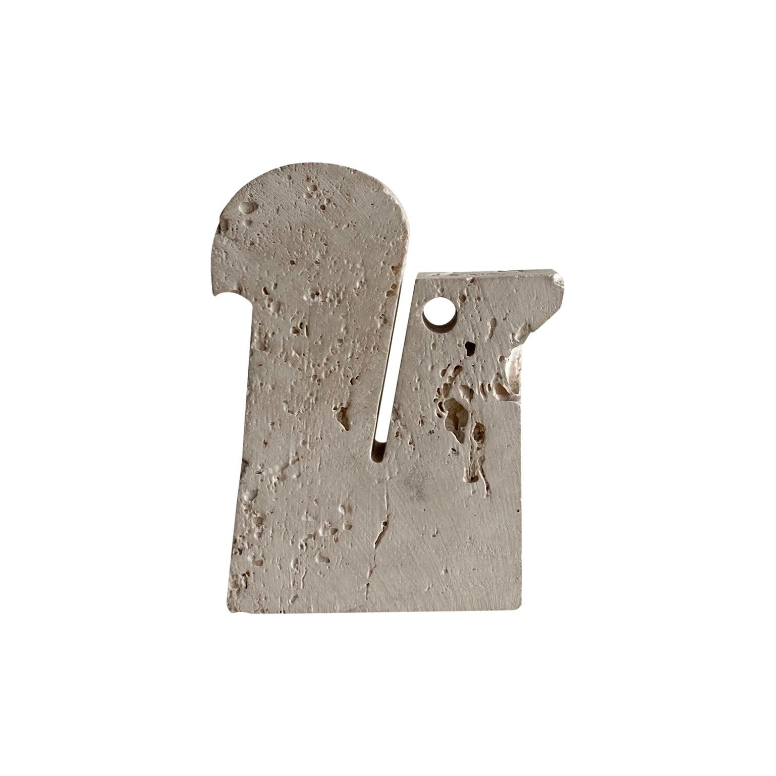 Travertine Squirrel Sculpture, Card, Letter Holder by Fratelli Mannelli, 1970s