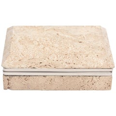 Travertine Stone and Nickel Silver Hinged Box Italian Vintage