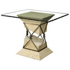 Travertine Stone Wrought Iron Suspended Top Scalloped Glass Coffee Center Table