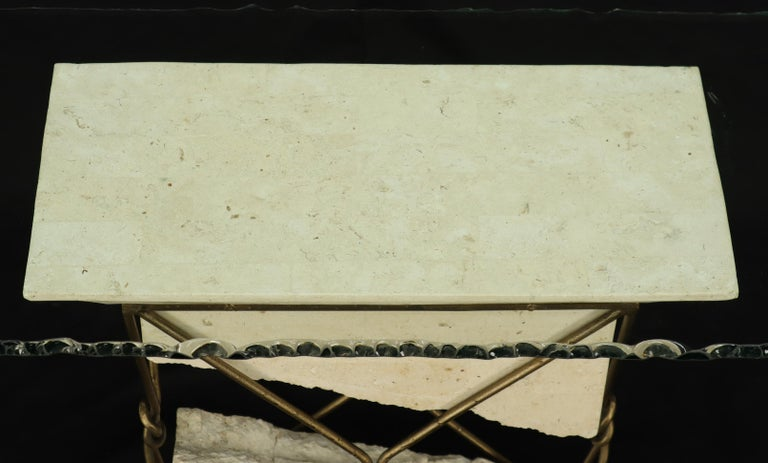 Travertine Stone Wrought Iron Suspended Top Scalloped