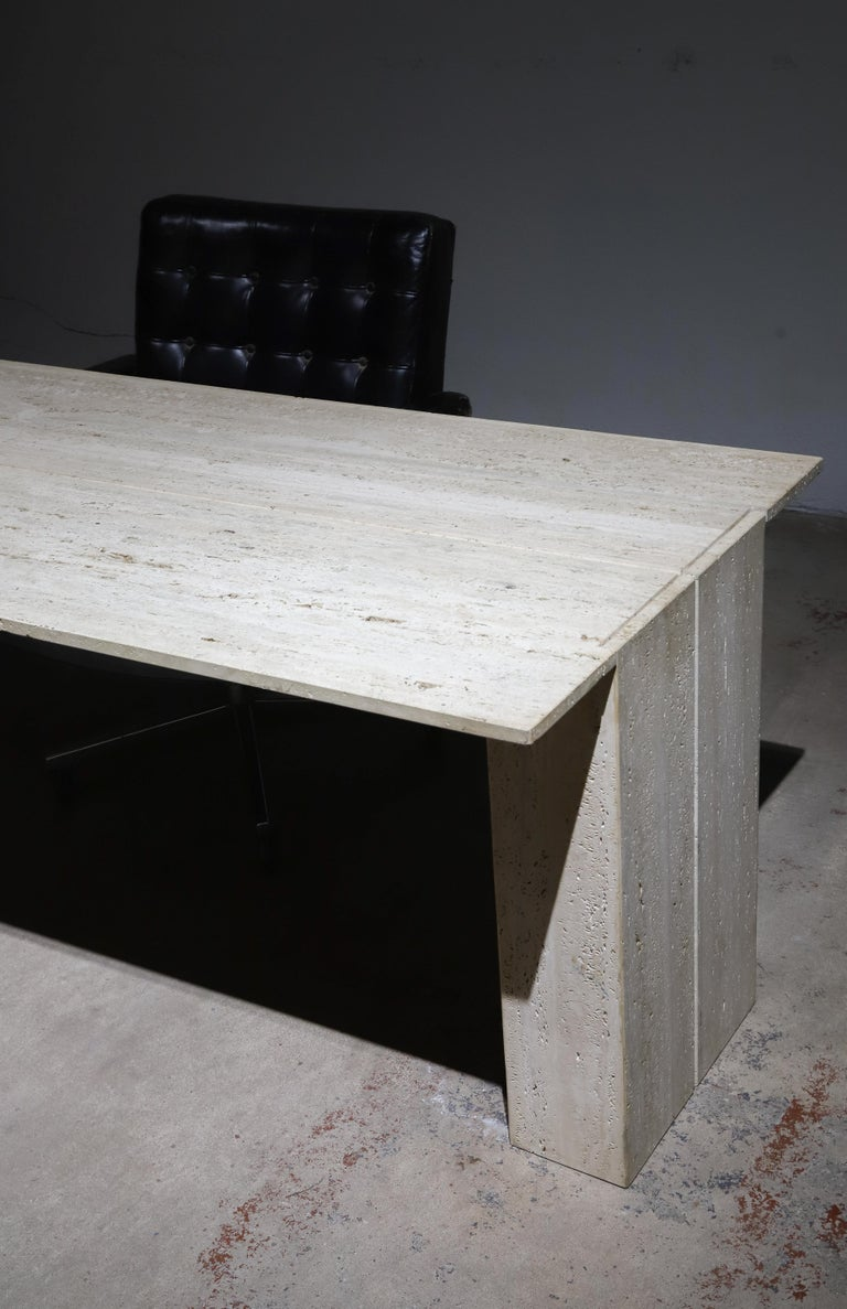 Travertine Desk or Dining Table For Sale 11