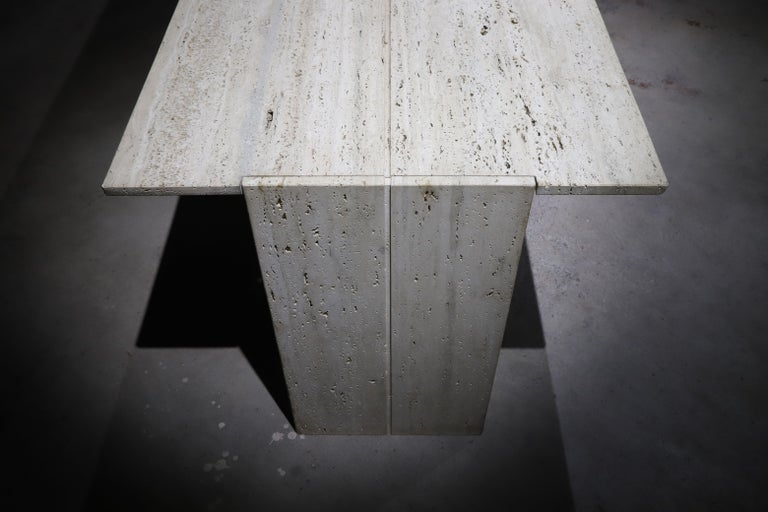 Mid-Century Modern Travertine Desk or Dining Table For Sale