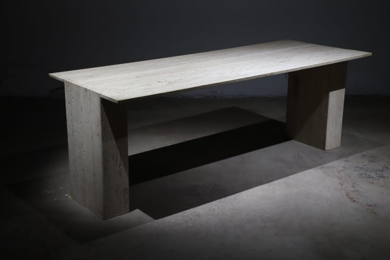 Italian Travertine Desk or Dining Table For Sale