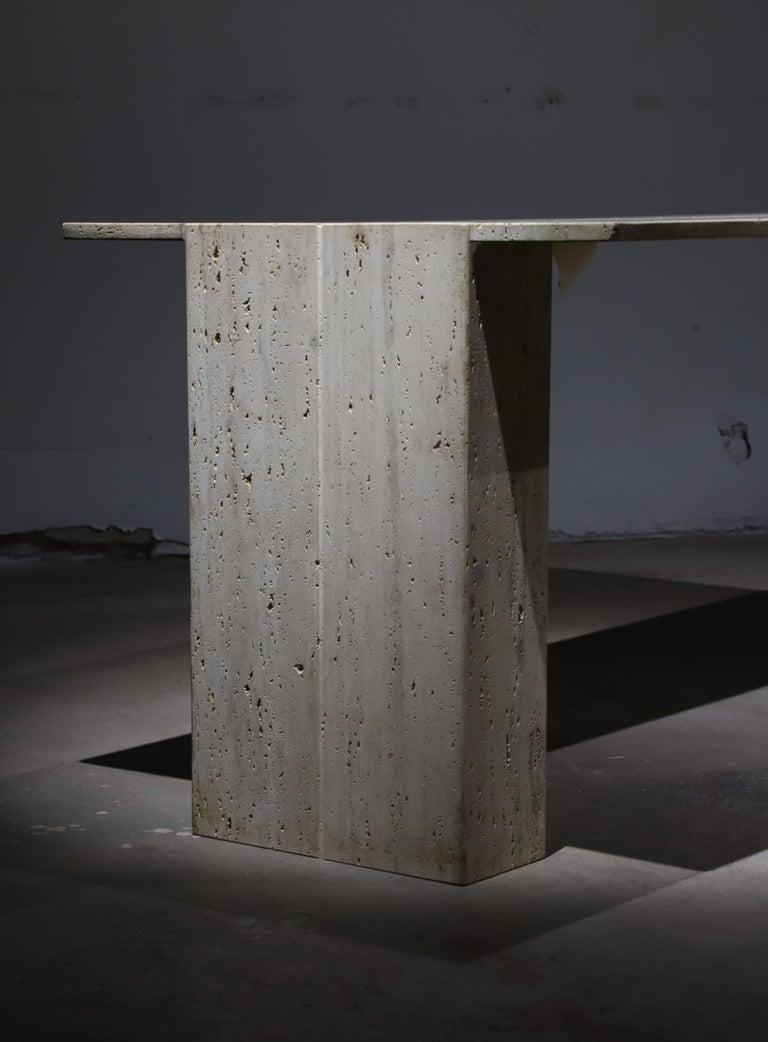 Travertine Desk or Dining Table For Sale 1