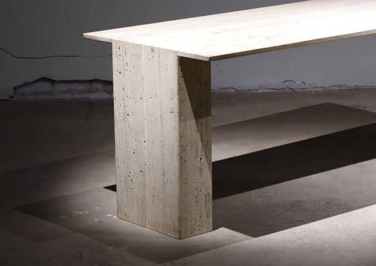 Travertine Desk or Dining Table For Sale 3