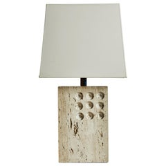 Travertine Table Lamp by Raymor