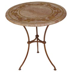 Round  gueridon Table handmade scagliola art Inlays Travertine top metal base