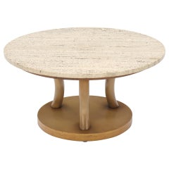 travertine Top Horn Like Pillars Tripod Base Round Coffee Table