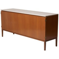 Travertine Top Paul McCobb Credenza or Sideboard 7306 for Directional / WK Möbel