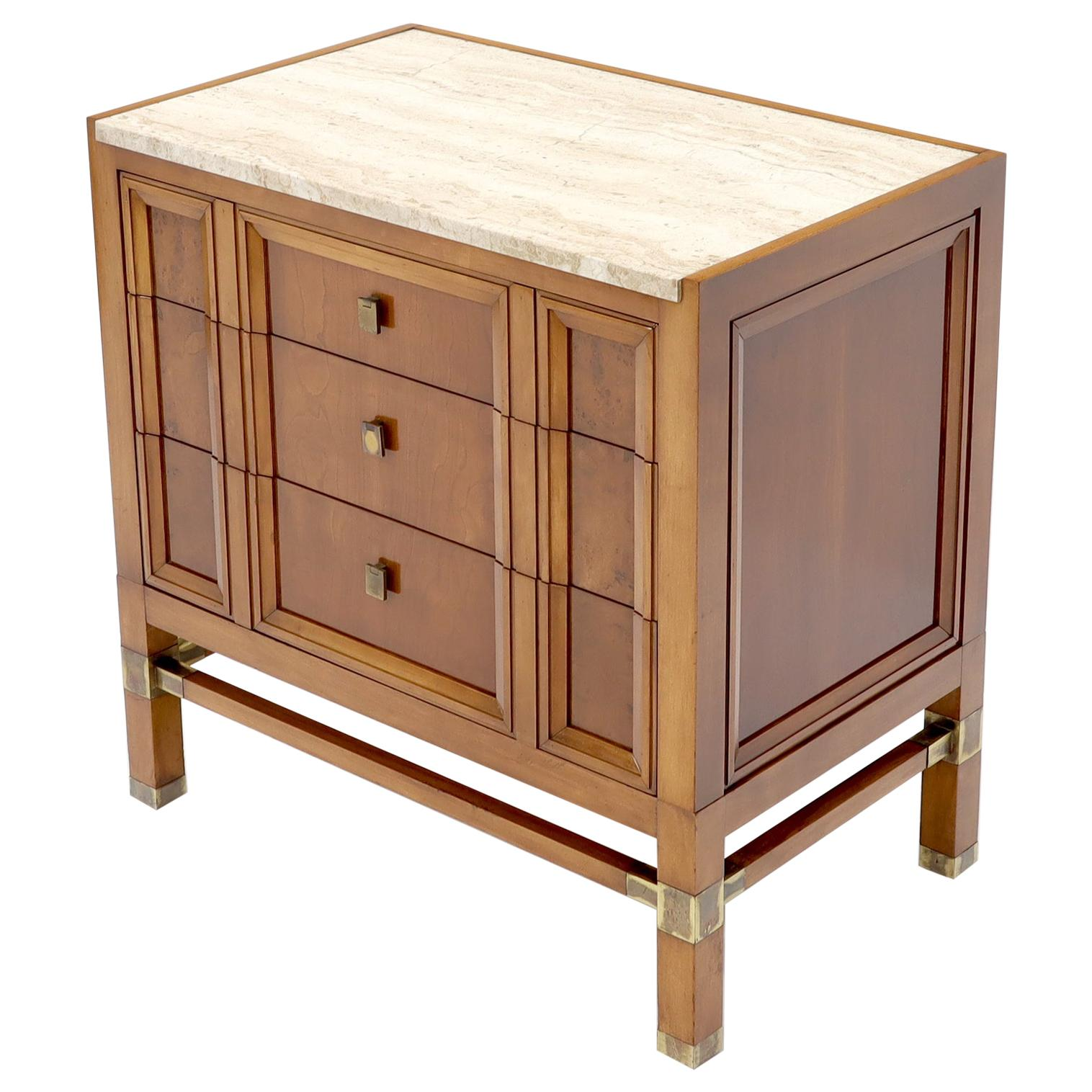 Travertine Top Three Drawers Bachelors Chest with Brass Pulls and Accents