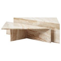 Travertine Triangle Duo Coffee Table for Up&Up, Italy, circa 1970