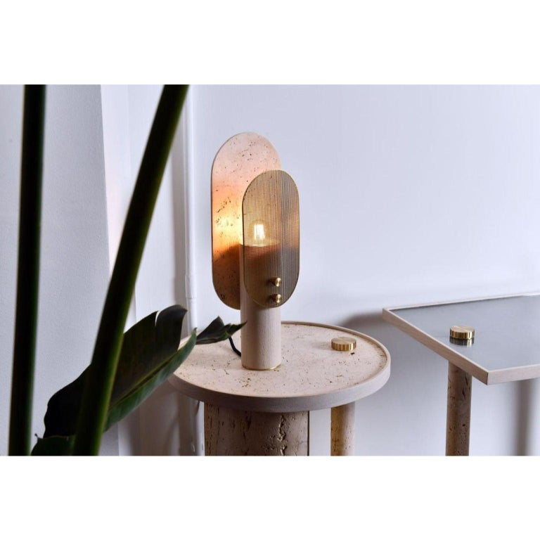 Travertino Nostalgia Table Lamp by Saccal Design House In New Condition For Sale In Geneve, CH