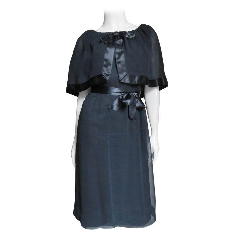 Travilla Dress with Capelet 1970s For Sale