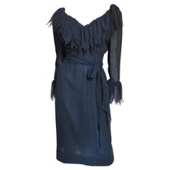 Travilla Silk Applique Trim Dress 1970s