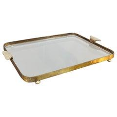 Tray Brass Glass Rectangular Mid Century Italian Design, 1950s