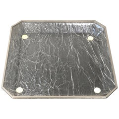 Tray Centerpiece Ice Effect, Lucite Metal Willy Rizzo Style, Italy, 1970s