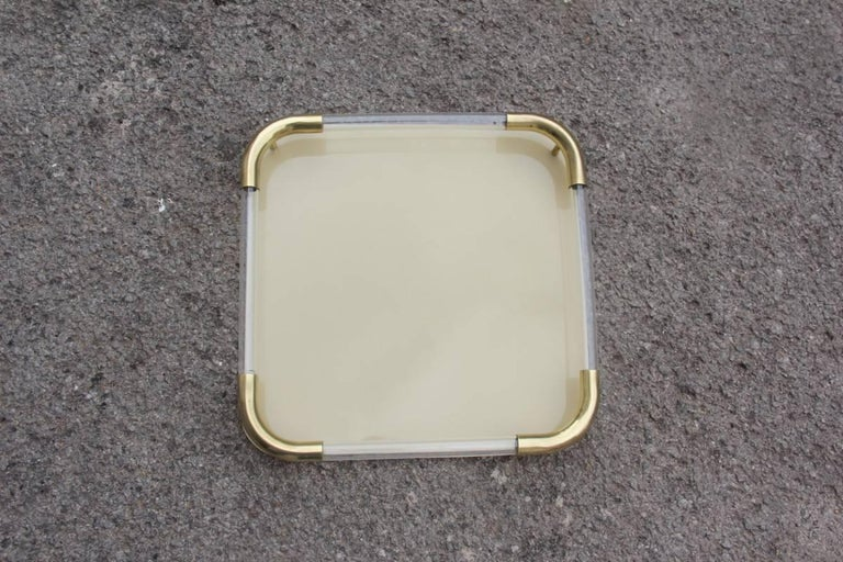 Tray in Brass Resin and Plexiglass 1970s Italian Design In Excellent Condition For Sale In Palermo, Sicily