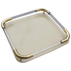 Tray in Brass Resin and Plexiglass 1970s Italian Design