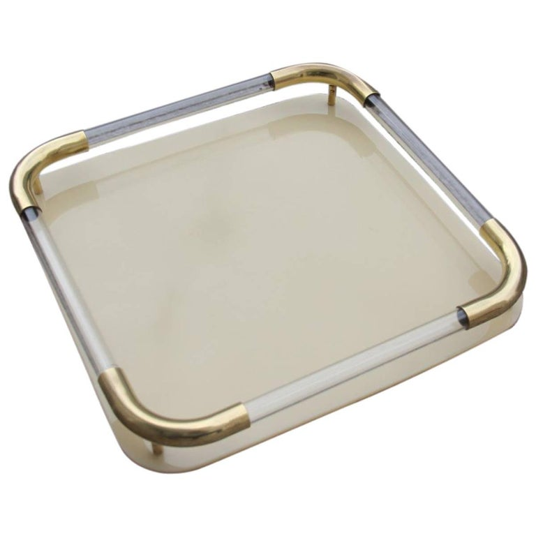 Tray in Brass Resin and Plexiglass 1970s Italian Design For Sale