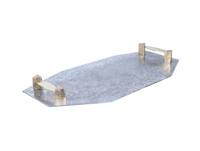 Tray in etched aluminium and brass Gemini by Arriau Fully handcrafted Each model is unique.