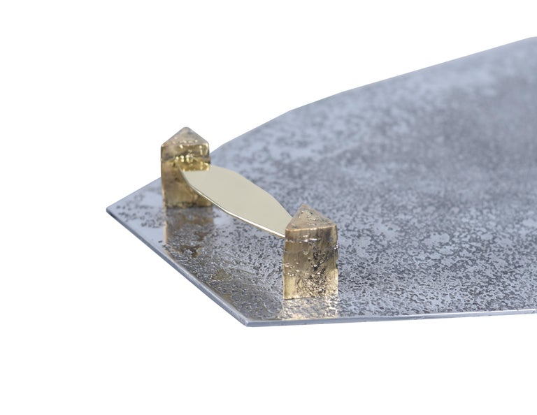 Contemporary Tray in Etched Aluminium and Brass Gemini by Arriau For Sale