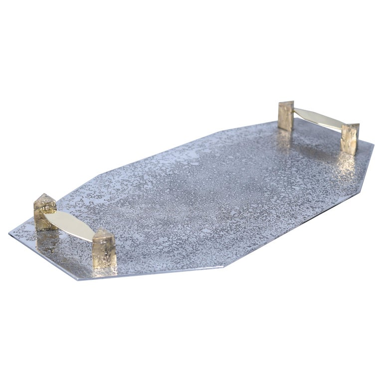 Tray in Etched Aluminium and Brass Gemini by Arriau For Sale
