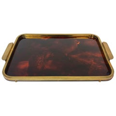 Tray in Lucite Tortoise Shell Effect and Brass, Italy, 1970s
