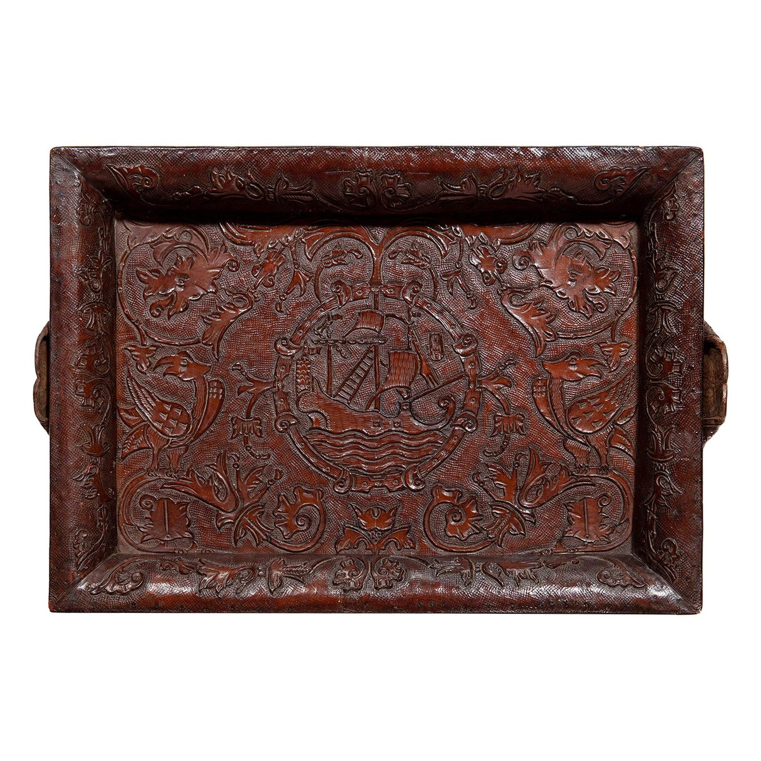 Tray Leather Embossed Nautical Design Galleon Tulip Mythical Bird Brown Baroque