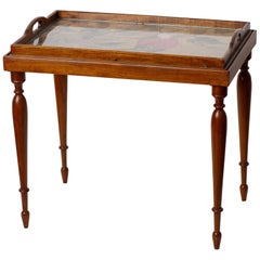 Tray Little Table with a Red Parrot, Signed, Deco Period