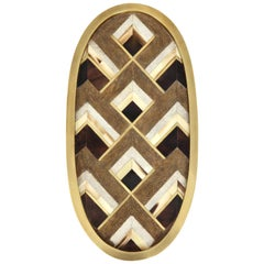 Tray, Shagreen, Palm Wood and Brass Details, Chocolate and Taupe, in Stock