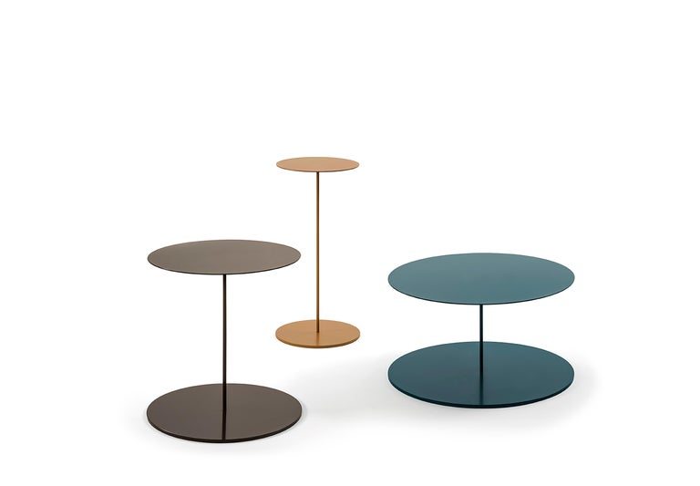 Side tables in metal tublars and laser-cut metal sheets in finish in RAL colors or with optional metal varnish - brass, dark bronze, copper, satin-finish black.